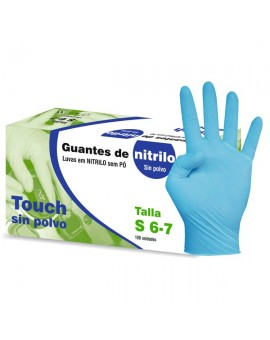 "Guante de Nitrilo sin Polvo TOUCH Azul ""Beholi"""